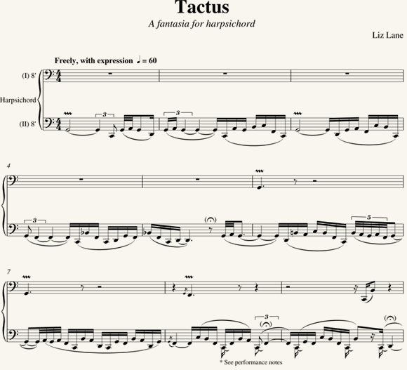 Liz Lane: Tactus - a Fantasia for Harpsichord (2010)