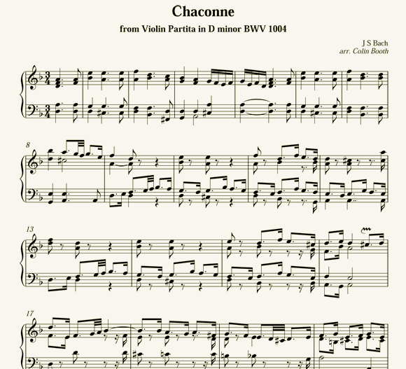 J.S.Bach: Chaconne - after Violin Partita BWV 1004