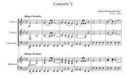New Score by J C Bach